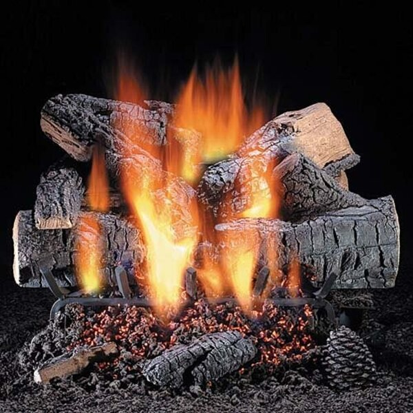 Windsor Premium Oak Vented Natural Gas/Propane Fireplace Logs By HargroveGasLogs