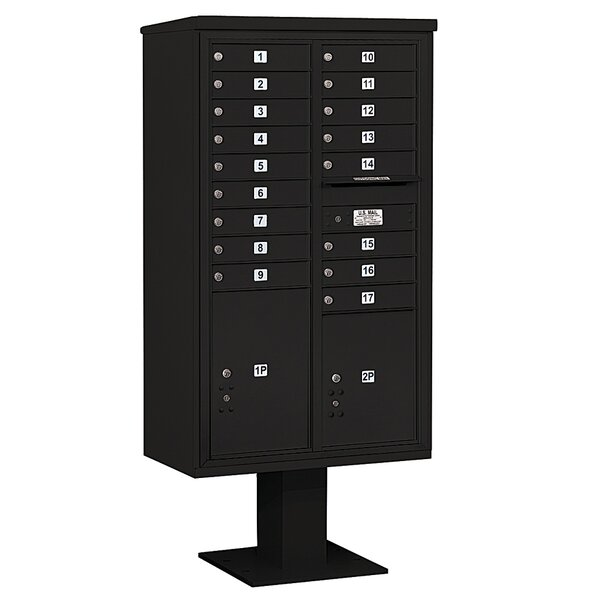 Pedestal Mounted 17 Units 20 Door 4C Horizontal Cluster Box Unit with 2 Parcel Lockers by Salsbury Industries