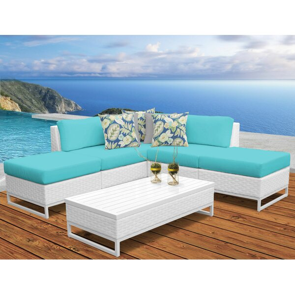Miami 6 Piece  Rattan Sectional Seating Group with Cushions by TK Classics