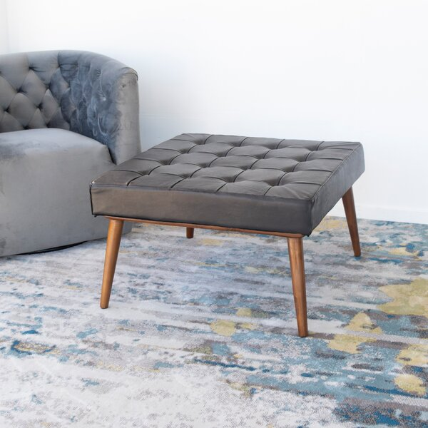 Review Beedeville Washington Leather Tufted Cocktail Ottoman