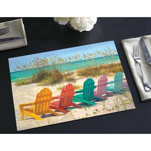 Zaina Disposable Paper Colorful Beach Chairs 18 Placemat (Set of 24) by Highland Dunes