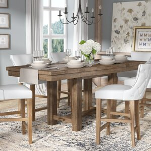 Charming Hillary Rectangular Counter Height Extendable Dining Table
