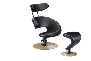 Peel Swivel Lounge Chair and Ottoman by Varier