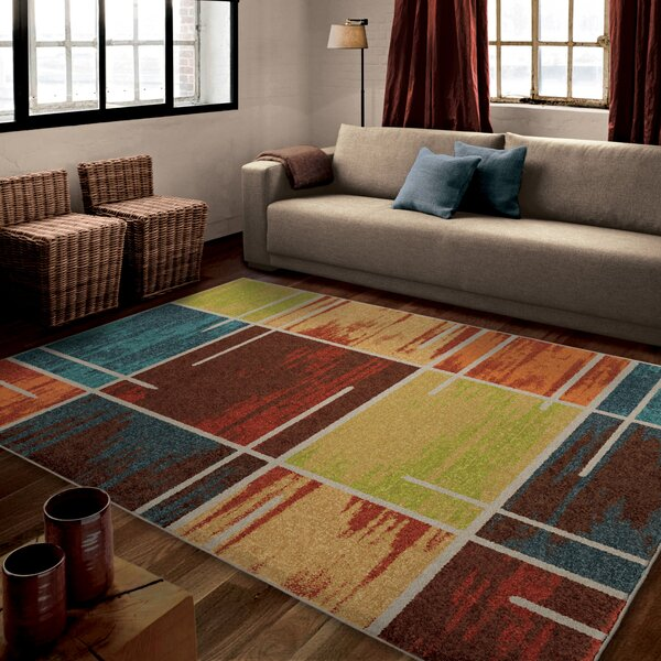 Rushford Red/Blue Area Rug by Threadbind