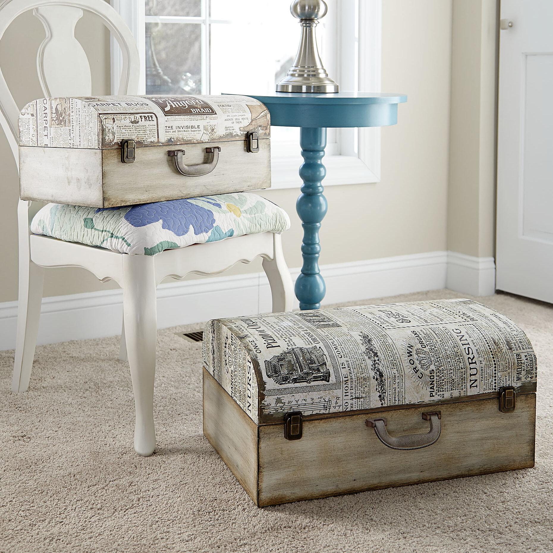 Household Essentials 2 Piece Newspaper Suitcase Trunk Set