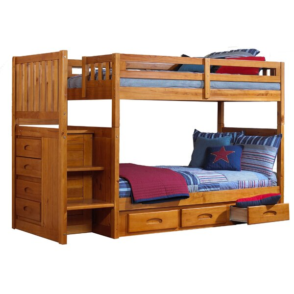 Edmond Twin over Twin Slat Bunk Bed with Slide-Out Trundle by Harriet Bee
