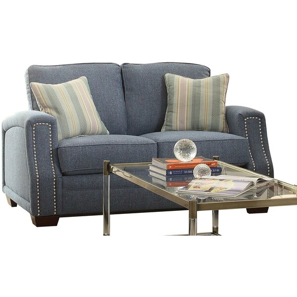 Loveseat With 2 Pillows, Light Blue Fabric By Winston Porter