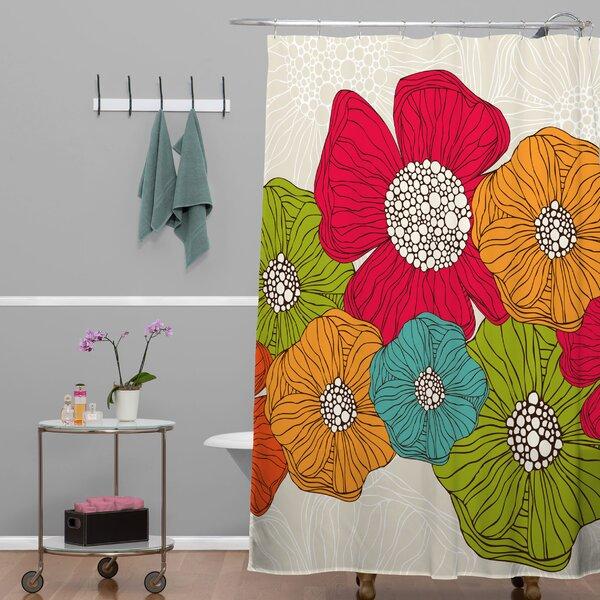 Deepak Flowers Shower Curtain by Bungalow Rose