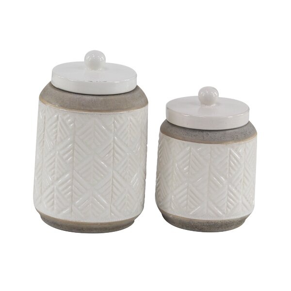 Modern Cylindrical 2 Piece Storage Jar Set by Bungalow Rose