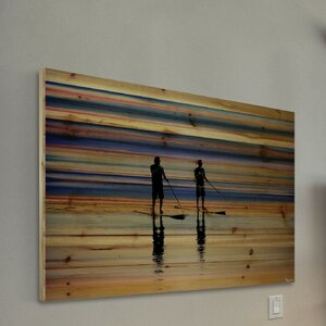 'Beach Surf' by Parvez Taj Painting Print on Natural Pine Wood by Mercury Row