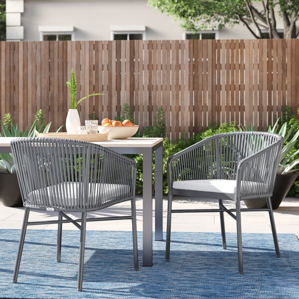 Kyla Rope Stacking Patio Dining Chair with Cushion (Set of 2) by Foundstone Foundstone