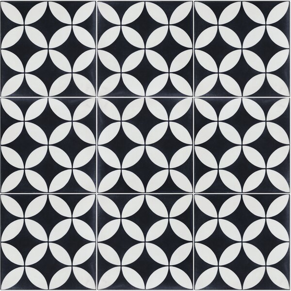 Circulos B Evening 8 x 8 Cement Field Tile in Black/White by Villa Lagoon Tile