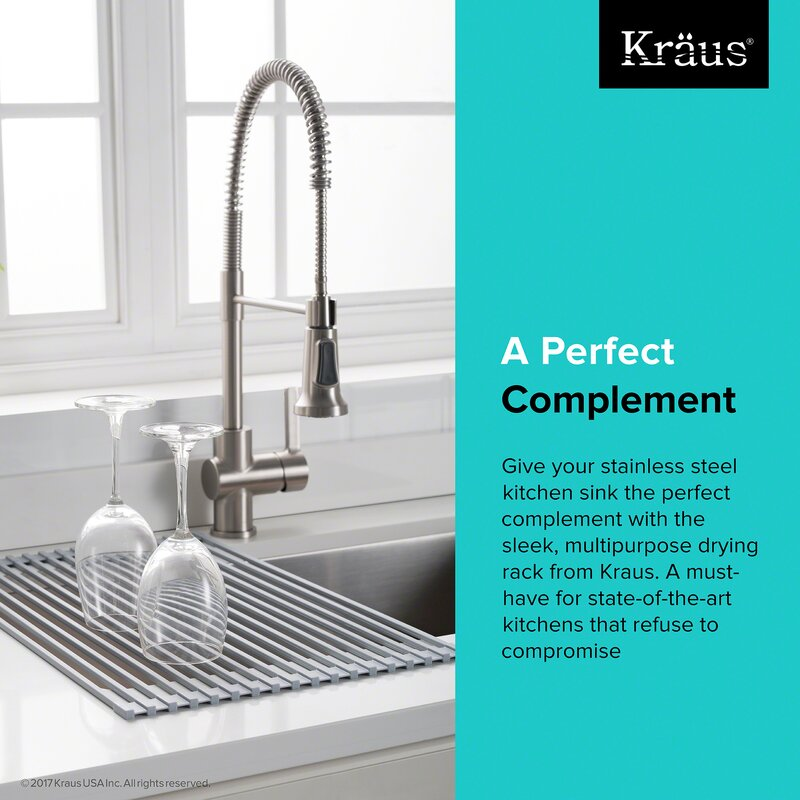 Kraus Stainless Steel Kitchen Sinks Kraus silicone coated stainless steel over the sink multipurpose silicone coated stainless steel over the sink multipurpose roll up dish rack workwithnaturefo