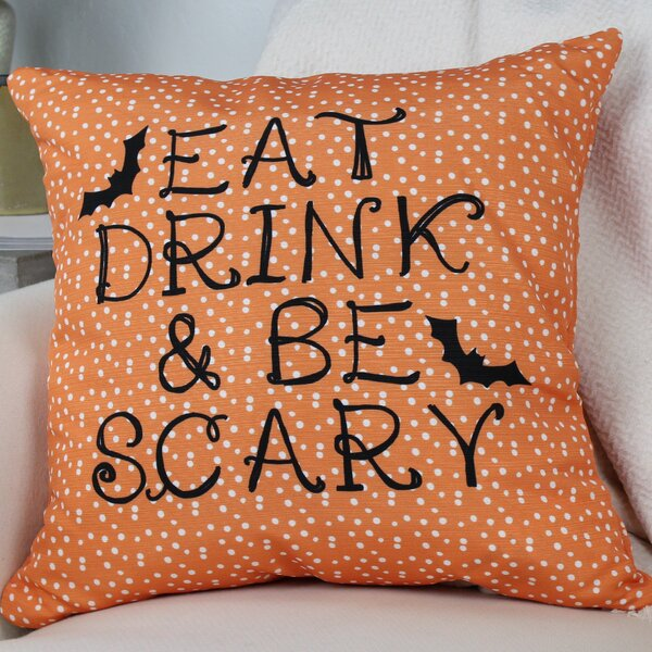 Eat, Drink, Be Scary Dots Throw Pillow by One Bella Casa