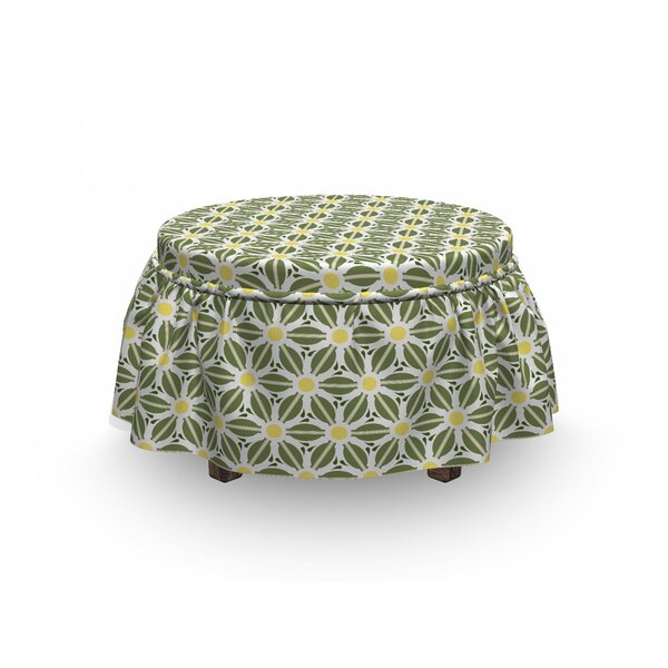 Blossoming Petals Ottoman Slipcover (Set Of 2) By East Urban Home