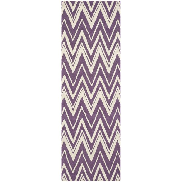 Martins Hand-Tufted Ivory/Purple Area Rug by Wrought Studio
