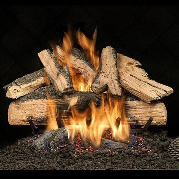 Elegant Charred Split Oak Vented Natural Gas/Propane Fireplace Log Set By HargroveGasLogs