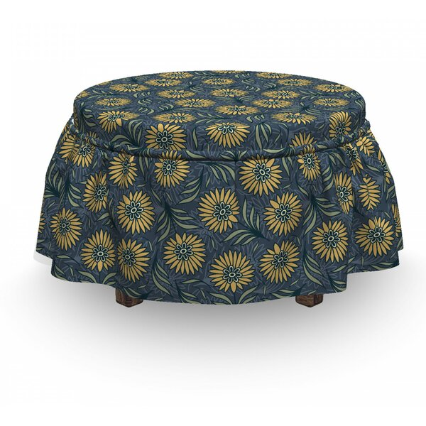 Deals Price Fresh Green Foliage Leaves Ottoman Slipcover (Set Of 2)