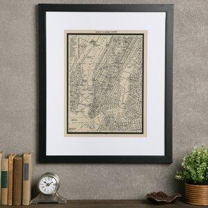 Vintage New York City Map Framed Print by Birch Lane™