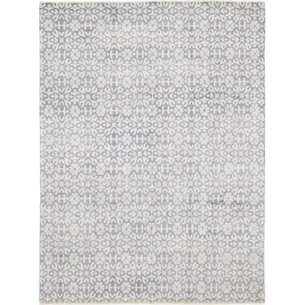 One-of-a-Kind Della Hand-Knotted Wool Blue Indoor Area Rug by Isabelline