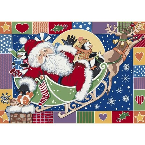 Winter Seasonal Patchwork Santa Area Rug by Milliken
