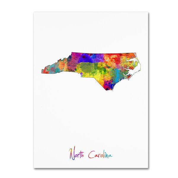 North Carolina Map by Michael Tompsett Graphic Art on Wrapped Canvas by Trademark Fine Art