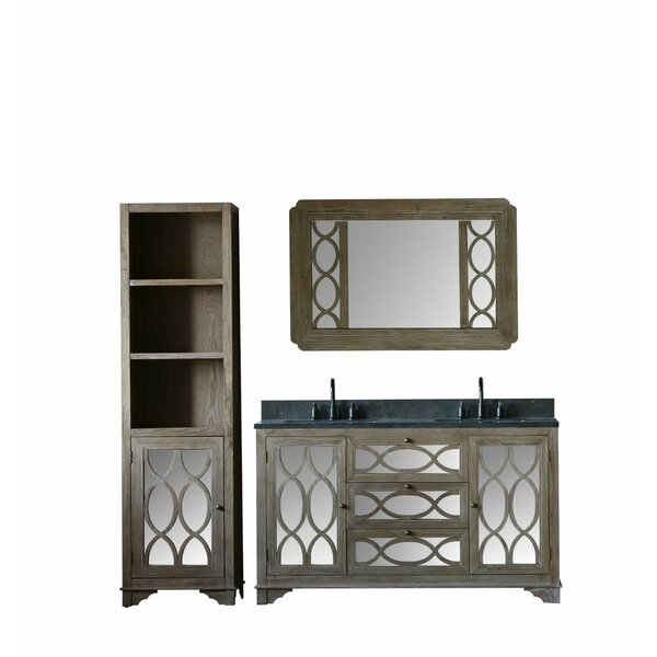 Velasco Solid Elm 60 Double Bathroom Vanity Set with Mirror by Rosecliff Heights