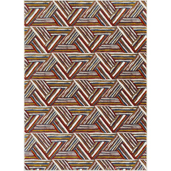 Herren Geometric Triangles Brown Area Rug by Ebern Designs
