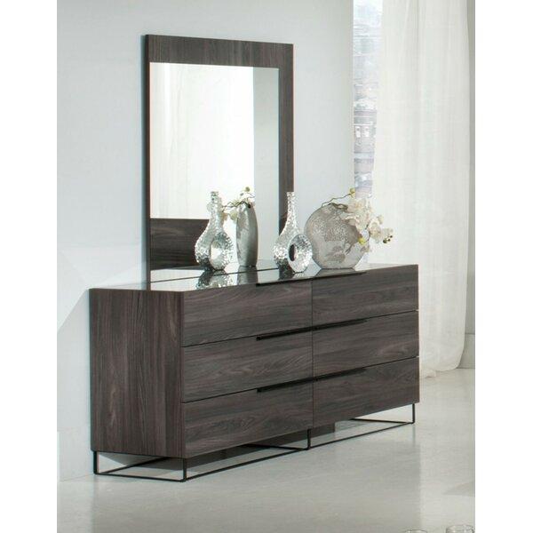 Mraz 6 Drawer Double Dresser with Mirror by Mercury Row