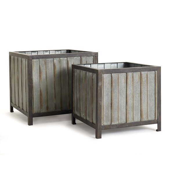 Trotman 2-Piece Iron Planter Box Set by Gracie Oaks