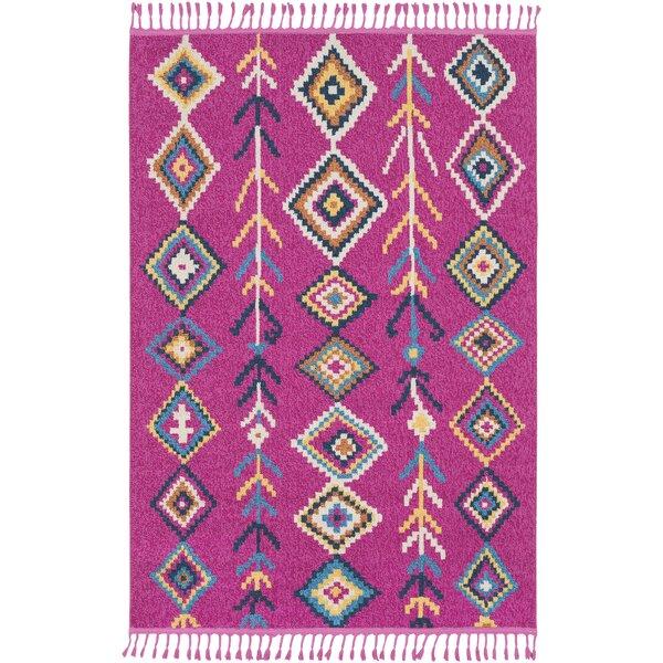 Peregrine Boho Moroccan Tassel Pink/Teal Area Rug by Mistana