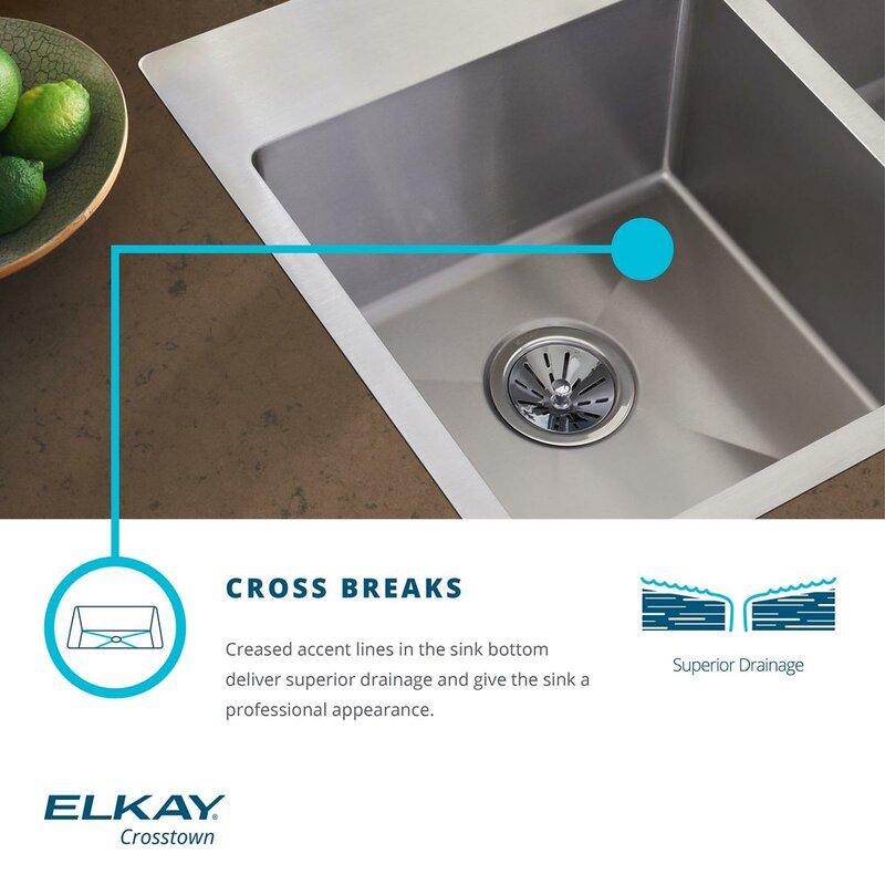 crosstown 33   x 22   undermount kitchen sink with     elkay crosstown 33   x 22   undermount kitchen sink with sink grid      rh   wayfair com