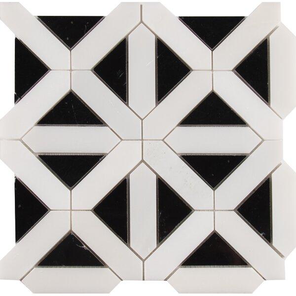 Retro Fretwork Random Sized Marble Mosaic Tile in Black/Gray by MSI
