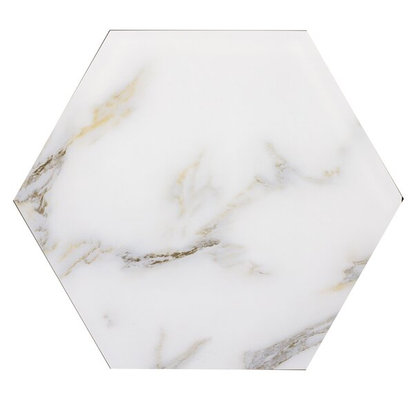 Nature 8 x 8 Glass Hexagon Tile in Calacatta Gold/Gray Veins by Abolos