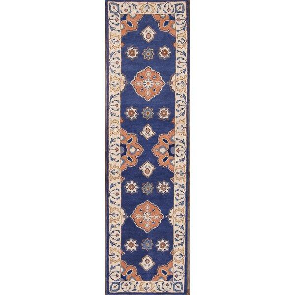 Chaumont Agra Kashan Oriental Hand-Tufted Wool Red/Black/Blue Area Rug by Bloomsbury Market