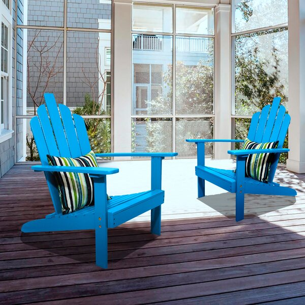 Spruill Patio Solid Wood Adirondack Chair (Set of 2) by Highland Dunes Highland Dunes