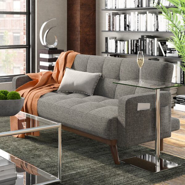 New High-quality Bowman Modern Futon Sofa Sleeper by George Oliver by George Oliver