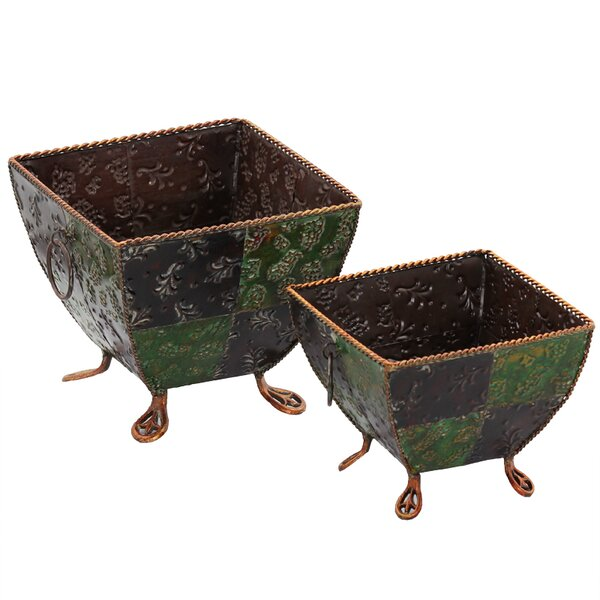 Morfin 2-Piece Metal Planter Box Set by Bloomsbury Market