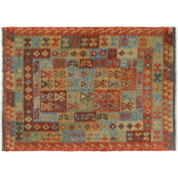 Rosalina Handmade-Kilim Wool Rust/Blue Geometric Area Rug by Bloomsbury Market