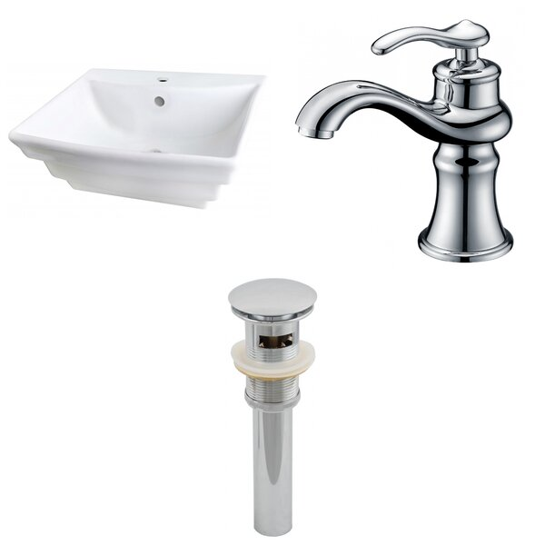 Ceramic 17 Wall Mount Bathroom Sink with Faucet and Overflow by American Imaginations