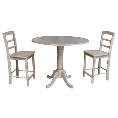 August Grove Spiva Round Top Pedestal Extending 3 Piece Pub Table Set  Color: Washed Gray Taupe