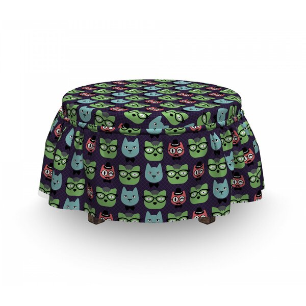 Cat Heads Geek Fashion Ottoman Slipcover (Set Of 2) By East Urban Home