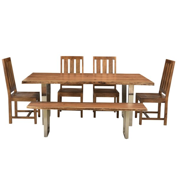 Jozereau Live Edge 6 Piece Solid Wood Dining Set by Union Rustic