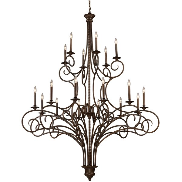Brenda 18 - Light Candle Style Geometric Chandelier By Fleur De Lis Living
