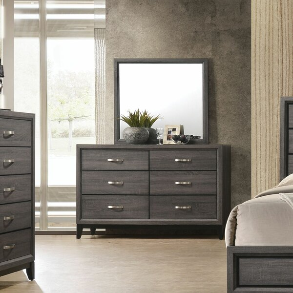 Caudillo 6 Drawer Double Dresser with Mirror by Gracie Oaks