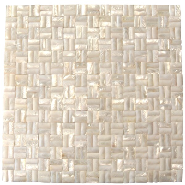 Lokahi 0.39 x 0.79 Glass Pearl Shell Mosaic Tile in White