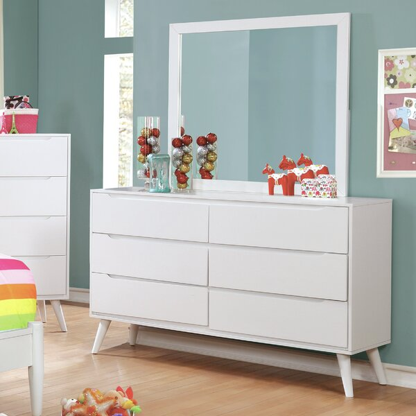 Modern 6 Drawer Double Dresser with Mirror by Langley Street