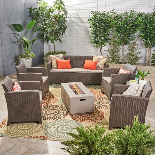 Jacksonville Outdoor 7 Piece Wicker Print Sofa Seating Group with Cushions by Ivy Bronx
