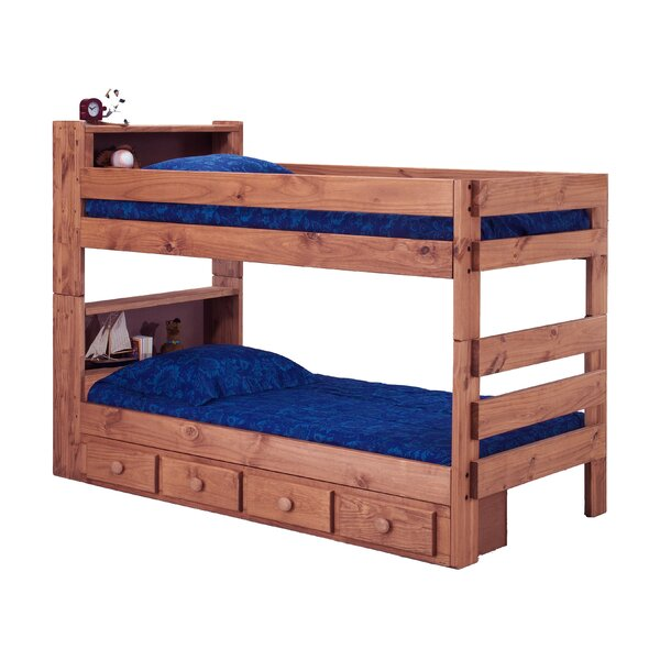 Chavarria Twin Over Twin Bunk Bed with Bookcase and Drawers by Harriet Bee