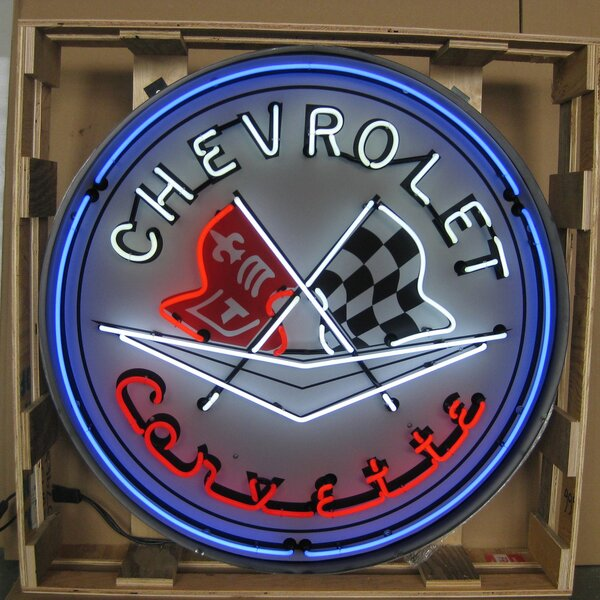 Corvette Flags Neon Sign by Neonetics